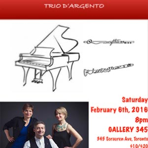 Trio d'Argento Gallery 345 January 2016 concert poster