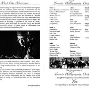 Program pages from the former Toronto Philharmonia Orchestra